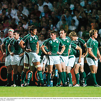 9 September 2007; The Ireland players react after Namibia scored their second try of the game. 2007 Rugby World Cup, Pool D, Ireland v Namibia, Stade Chaban Delmas, Bordeaux, France. Picture credit; Brendan Moran / SPORTSFILE