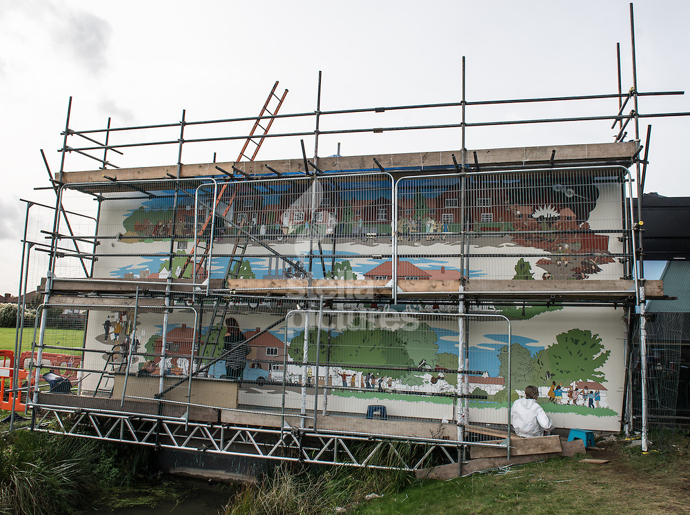 'This Used To Be Fields' a mural by Scottish artist Chad McCail at Valence House Museum, Dagenham.<br /> Picture by Daniel Hambury/Stella Pictures Ltd +44 7813 022858<br /> 16/10/2014