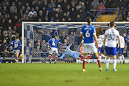 Portsmouth Midfielder, Gary Roberts (11) shots goes narrowly wide during the EFL Sky Bet League 2 match between Portsmouth and Mansfield Town at Fratton Park, Portsmouth, England on 12 November 2016. Photo by Adam Rivers.