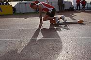 Super 8 athletics at the Cardiff International Stadium on Wed 10th June 2009. Matt Elias of Cardiff starting the men's 400m race.