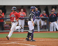 Ole Miss' Auston Bousfield (9) scores in the 7th inning vs. Lipscomb at Oxford-University Stadium in Oxford, Miss. on Sunday, March 10, 2013. Ole Miss won 9-8. The Rebels improve to 16-1.