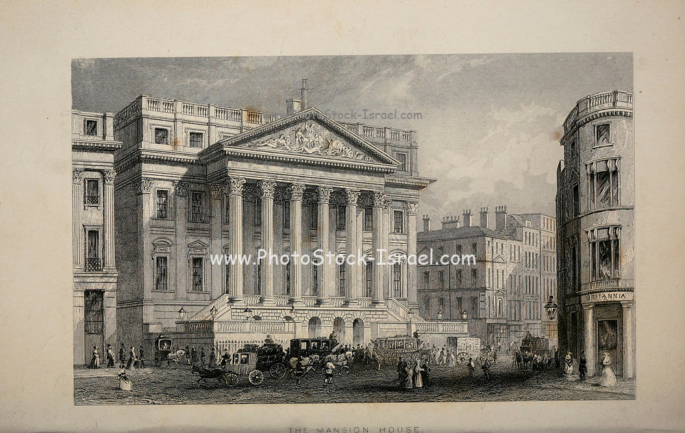 London Mansion House is the official residence of the Lord Mayor of London. From the book Illustrated London, or a series of views in the British metropolis and its vicinity, engraved by Albert Henry Payne, from original drawings. The historical, topographical and miscellanious notices by Bicknell, W. I; Payne, A. H. (Albert Henry), 1812-1902 Published in London in 1846 by E.T. Brain & Co