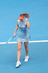 MELBOURNE, Jan. 18, 2019  SP)AUSTRALIA-MELBOURNE-TENNIS-2019 AUSTRALIAN OPEN-DAY 5.    Maria Sharapova of Russia celebrates.    during the women's third round match between Maria Sharapova of Russia and Caroline Wozniacki of Denmark at the 2019 Australian Open in Melbourne, Australia, Jan. 18, 2019. (Credit Image: © Bai Xuefei/Xinhua via ZUMA Wire)
