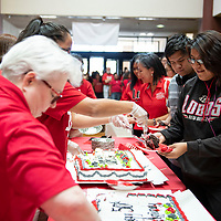 Samira Jake, a freshman art studio major celebrating 50 years of the University of New Mexico-Gallup (UNM-Gallup) with cake, Thursday Sept. 27, 2018 in Gurley Hall on the UNM-Gallup campus.