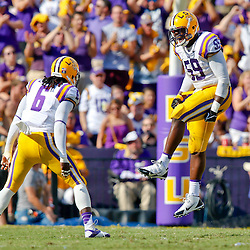 Oct 12, 2013; Baton Rouge, LA, USA; LSU Tigers defensive end Jermauria Rasco (59) and safety Craig Loston (6) celebrate a stop against the Florida Gators during the first half of a game at Tiger Stadium. Mandatory Credit: Derick E. Hingle-USA TODAY Sports