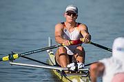 Plovdiv BULGARIA. 2017 FISA. Rowing World U23 Championships. <br /> GER BM1X, WEBER, Marc,<br /> Wednesday. PM,  Heats 18:15:01  Wednesday  19.07.17   <br /> <br /> [Mandatory Credit. Peter SPURRIER/Intersport Images].