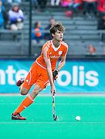ROTTERDAM - HOCKEY - Hidde Turkstra tijdens de wedstrijd tussen de mannen bvan Nederland en Nieuw Zeeland (3-3)  bij de Rabobank Hockey World League in Rotterdam. ANP KOEN SUYK