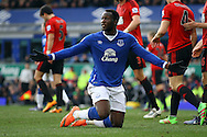 Romelu Lukaku of Everton questions the referee's assistant. Barclays Premier League match, Everton v West Bromwich Albion at Goodison Park in Liverpool on Saturday 13th February 2016.<br /> pic by Chris Stading, Andrew Orchard sports photography.