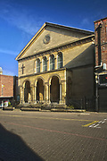 The exterior of the Grade II listed Fuller Baptist Church in Gold Street, Kettering, Northamptonshire, UK.<br /> A church has been on this site since 1696 and the current building is named in memory of Rev'd Andrew Fuller a founder of the Baptist Missionary Society, formed in Kettering in the late 1700's