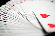 close up of a spread out deck of cards