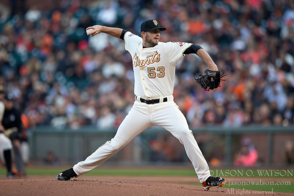 SAN FRANCISCO, CA - APRIL 18:  Chris Heston #53 of the San Francisco Giants pitches against the Arizona Diamondbacks during the first inning at AT&T Park on April 18, 2015 in San Francisco, California.  The San Francisco Giants defeated the Arizona Diamondbacks 4-1. (Photo by Jason O. Watson/Getty Images) *** Local Caption *** Chris Heston