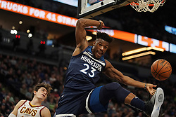 October 19, 2018 - Minneapolis, MN, USA - The Minnesota Timberwolves' Jimmy Butler (23) dunks in the first half against the Cleveland Cavaliers on Friday, Oct. 19, 2018, at the Target Center in Minneapolis. (Credit Image: © Anthony Souffle/Minneapolis Star Tribune/TNS via ZUMA Wire)