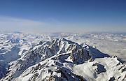 Aerial view of Mont Blanc mountain peak 4810 meters