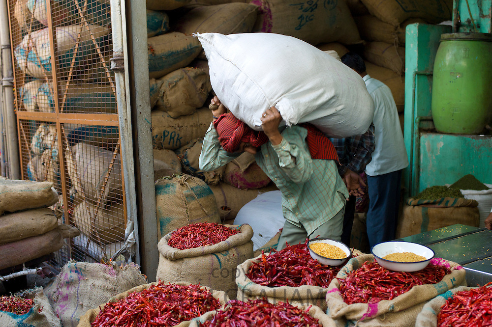 Red chillies on sale at Khari Baoli spice and dried foods market and porter carries heavy load, Old Delhi, India