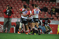 South Africa - Johannesburg, Emirates Airlines Park. 24/08/18  Currie Cup. Lions vs Griquas. Courtnall Skosan is congratulated by team mates after scoring a try.<br /> 2nd half.  Picture: Karen Sandison/African News Agency(ANA)