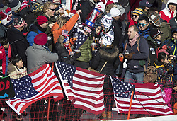 February 17, 2018 - Pyeongchang, South Korea - USA fans wait to see the Ladies' Super-G action at the Jeongseon Alpine Centre during the 2018 Pyeongchang Winter Olympic Games. (Credit Image: © Daniel A. Anderson via ZUMA Wire)