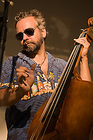 Bradley Keough playing upright bass with Hot Rod Diner at Pitman's 2010 Music & Arts Festival.