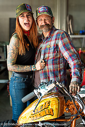 Cheap Thrills' Audra Cabral and Slinging Ink tattoo artist Oliver Peck during the Run to Raton. Raton, NM. USA. Saturday July 21, 2018. Photography ©2018 Michael Lichter.