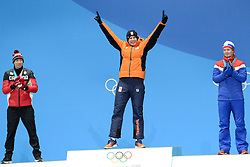 February 12, 2018 - Pyeongchang, South Korea - SVEN KRAMER of the Netherlands celebrates on the medals podium for the men's 5,000m Speed Skating event in the PyeongChang Olympic games. (Credit Image: © Christopher Levy via ZUMA Wire)
