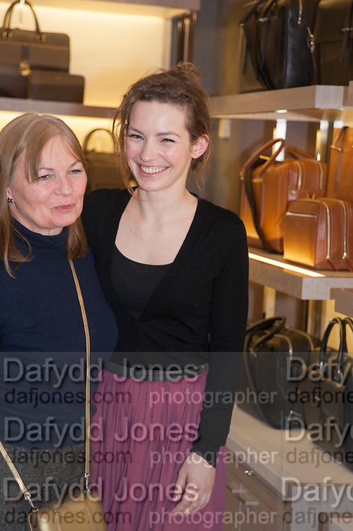 SUSAN WEEKS; PERDITA WEEKS; , Smythson Sloane St. Store opening. London. 6 February 2012.