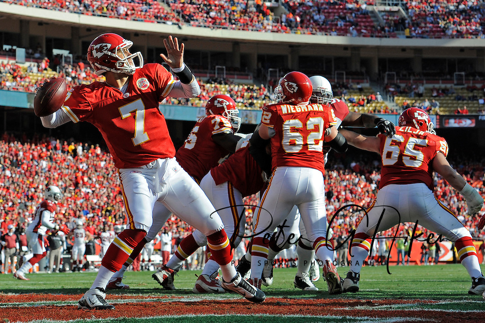 Quarterback Matt Cassel #7 of the Kansas City Chiefs throws a pass out of the end zone late in the second quarter against the Arizona Cardinals at Arrowhead Stadium in Kansas City, Missouri.  ..