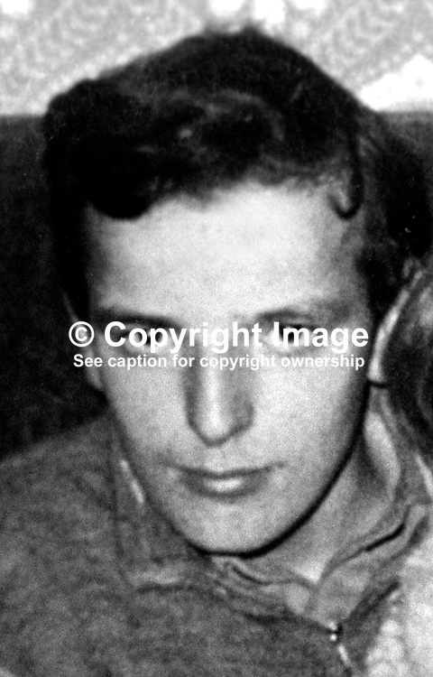 Bernard Teggart, 15 years, from New Barnsley Crescent, Belfast, N Ireland, who was assassinated 13th November 1973 by the Provisional IRA.  His badly-beaten body was found near Bellevue Zoo on the outskirts of the city. It bore a placard bearing the word Tout i.e an informer. His twin brother who was abducted at the same time was released after being given a coat and three shillings and told to take a bus home. The abductions took place from St Patrick's Youth Detention Centre. Bernard was said to have a mental age of 8 or 9 years. Although the IRA did not admit responsibility it issued a statement in October 2004 saying that after an investigation it offered its sincere apologies to the family admitting the killing should not have happened. 197311130699.<br /> <br /> Copyright Image from Victor Patterson, Belfast, UK<br /> <br /> t: +44 28 9066 1296 (from Rep of Ireland 048 9066 1296)<br /> m: +44 7802 353836<br /> e: victorpattersonbelfast@gmail.com<br /> <br /> www.images4media.com<br /> <br /> Please see my full Terms and Conditions of Use at https://www.images4media.com/p/terms-conditions - it is IMPORTANT that you familiarise yourself with them.<br /> <br /> Images used online incur an additional cost. This cost should be agreed in writing in advance. Online images must be visibly watermarked i.e. © Victor Patterson or that of the named photographer within the body of the image. The original metadata must not be deleted from images used online.<br /> <br /> This image is only available for the use of the download recipient i.e. television station, newspaper, magazine, book publisher, etc, and must not be passed on to a third party. It is also downloaded on condition that each and every usage is notified within 7 days to victorpattersonbelfast@gmail.com.<br /> <br /> The right of Victor Patterson (or the named photographer) to be identified as the author is asserted in accordance with The Copyright Designs And Patents Act (1988). All moral rights are asserted.