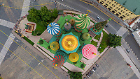 Aerial view of Saint Basil's Cathedral, Moscow, Russia
