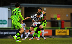 Mitchell Clark of Port Vale jostles with Ebou Adams of Forest Green Rovers- Mandatory by-line: Nizaam Jones/JMP - 16/01/2021 - FOOTBALL - innocent New Lawn Stadium - Nailsworth, England - Forest Green Rovers v Port Vale - Sky Bet League Two