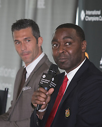 April 19, 2018 - Los Angeles, California, U.S - The 2018 International Champions Cup organizers announced the teams and schedule for the summer soccer tournament featuring top European clubs during a press conference on Thursday April 19, 2018 at OUE Skyspace LA in Los Angeles, California. Manchester United legend, Andrew Cole answers a question by Charlie Stillitano executive chairman of RELEVENT. (Credit Image: © Prensa Internacional via ZUMA Wire)