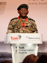 Julius Obwona receives the Tusk Wildlife Ranger Award during the Tusk Conservation Awards at Banqueting House, London.