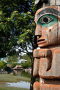 USA,Alaska, A close up view of one of Chief Kadashans' Totems on Chief Shakes Island