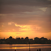 The end of day at the Havana bay, seen from Regla