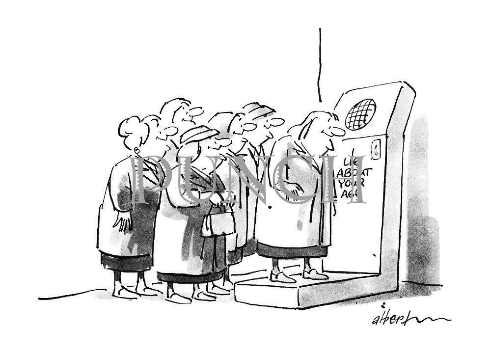 """(Old age pensioners queue to use an """"I lie about your age"""" machine)"""