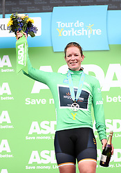 Wiggle High5 Pro Cycling's Kirsten Wild with the points jersey on the podium during day two of the ASDA Women's Tour de Yorkshire from Barnsley to Ilkley.