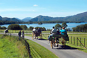 Traditional jaunting carts pass by Lough Lein, Killarney's Lower Lake on a trip around the Muckross Demesne in Killarney National Park.<br /> Picture by Don MacMonagle