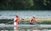 Bled, SLOVENIA, CAN W2- Bow.  Krista GULOIEN and Ashley BRZOZOWWICZ, during the semi final of the 1st FISA World Cup. Second day. Rowing Course. Lake Bled.  Saturday  29/05/2010  [Mandatory Credit Peter Spurrier/ Intersport Images]