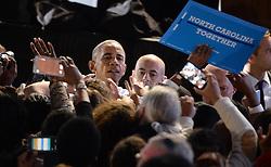 President Obama works the rope line after stumping for Democratic presidential nominee Hillary Clinton in Greensboro, NC, USA, on Tuesday, October 11, 2016. Photo by Chuck Liddy/Raleigh News & Observer/TNS/ABACAPRESS.COM