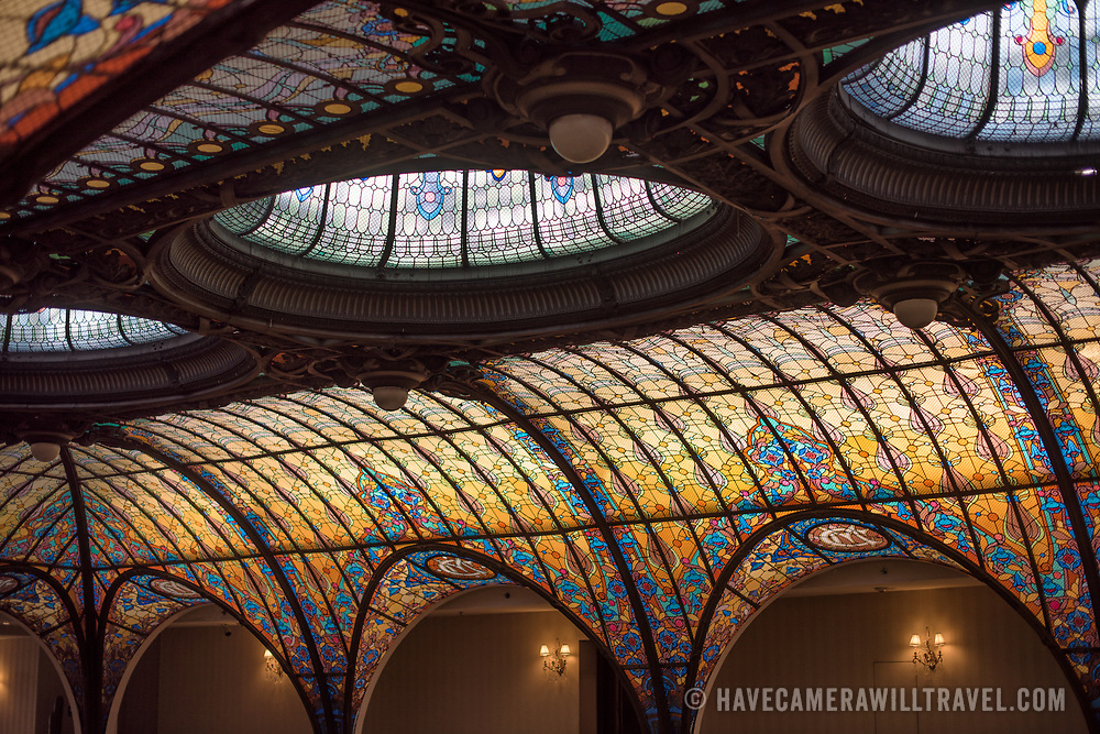 MEXICO CITY, Mexico - The Art Nouveau atrium of the Gran Hotel Cuidad de Mexico in the heart of Mexico city's historical district. A highlight is the Tiffany-style stained glass ceiling.