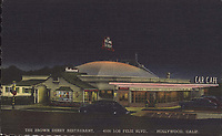 Postcard of the Brown Derby Car Cafe on Los Feliz Blvd. in Hollywood