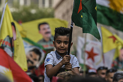 "A Kurdish small kid wave a flag and shout slogans  during a protest near the Turkish embassy in Athens, on October 12, 2019. Turkey launched an assault on Kurdish forces in northern Syria with air strikes and explosions reported along the border. President Recep Tayyip Erdogan announced the start of the attack on Twitter, labelling it ""Operation Peace Spring"".<br /> <br /> Pictured: <br /> Dimitris Lampropoulos  