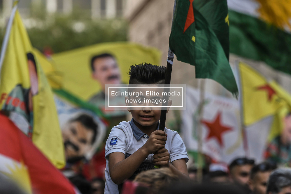 """A Kurdish small kid wave a flag and shout slogans  during a protest near the Turkish embassy in Athens, on October 12, 2019. Turkey launched an assault on Kurdish forces in northern Syria with air strikes and explosions reported along the border. President Recep Tayyip Erdogan announced the start of the attack on Twitter, labelling it """"Operation Peace Spring"""".<br /> <br /> Pictured: <br /> Dimitris Lampropoulos  