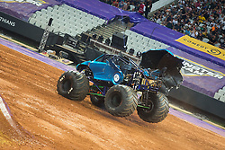 December 16, 2017 - Sao Paulo, Sao Paulo, Brazil - NEA Police with  the fairing damaged during a round of racing. Monster Jam was held at Corinthians Stadium, in Sao Paulo, Brazil. (Credit Image: © Paulo Lopes via ZUMA Wire)