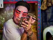 26 FEBRUARY 2018 - BANGKOK, THAILAND: during a Chinese Opera at the Phek Leng Shrine in the Khlong Toey section of Bangkok. The shrine traditionally hosts a Chinese Opera around the Lunar New Year.     PHOTO BY JACK KURTZ