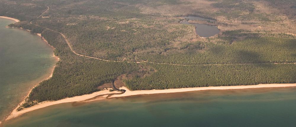 Aerial view of Lake Superior shoreline near Marquette Michigan