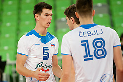 Alen Sket #5 of Slovenia during qualifications match for FIVB Men's World Championship 2014 between National team Slovenia and Israel in pool B on May 24, 2013 in SRC Stozice, Ljubljana, Slovenia. (Photo By Urban Urbanc / Sportida)
