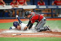 Tommy Pham is tagged out at home plate by D'Backs catcher JR Murphy during  a game between the Tampa Bay Rays and the Arizona D'Backs at Tropicana Field in St. Petersburg, FL on May, 8 2019.<br /> ( Photo/Tom DiPace)