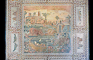 Roman floor mosaic with a Nile landscape and animals. From the vineyard Maccarani at S.Saba Aventine, Rome. 2nd century AD. National Roman Museum, Rome, Italy .<br /> <br /> If you prefer to buy from our ALAMY PHOTO LIBRARY  Collection visit : https://www.alamy.com/portfolio/paul-williams-funkystock/national-roman-museum-rome-mosaic.html <br /> <br /> Visit our ROMAN ART & HISTORIC SITES PHOTO COLLECTIONS for more photos to download or buy as wall art prints https://funkystock.photoshelter.com/gallery-collection/The-Romans-Art-Artefacts-Antiquities-Historic-Sites-Pictures-Images/C0000r2uLJJo9_s0