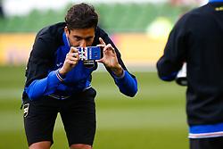 Ricky Alvarez takes a photo on the personalised phone of Samporia's Lucas Torreira - Mandatory by-line: Matt McNulty/JMP - 02/08/2017 - FOOTBALL - Aviva Stadium - Dublin,  - Manchester United v Sampdoria - Pre-Season friendly