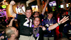 03 Feb 2013. New Orleans, Louisiana USA. .Super Bowl Sunday. Ravens fans on Bourbon Street celebrate their teams' win over the San Francisco 49ers.  in Super Bowl XLVII (47)..Photo; Charlie Varley