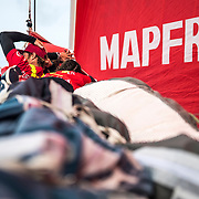 Leg Zero, Rolex Fastnet Race: start on board MAPFRE, People on the bow. Photo by Ugo Fonolla/Volvo Ocean Race. 07August, 2017